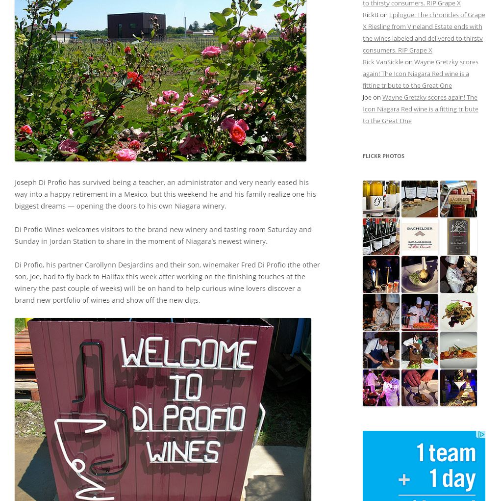 Our client, DiProfio Winery, was featured in Wines in Niagara blog