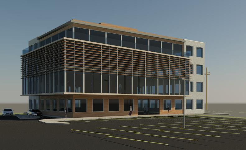 Torbay office building open architects for Building front design