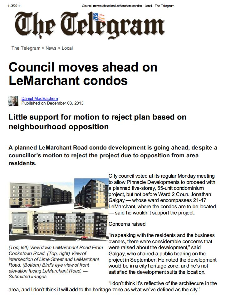Moving ahead on LeMarchant condos